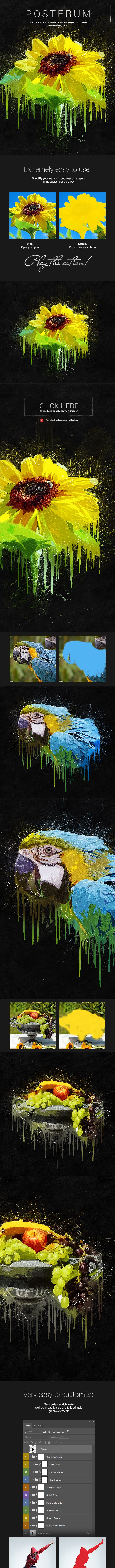 Grunge Painting - Posterum - Photoshop Action - Photo Effects Actions