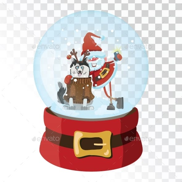 Christmas Glass Magic Ball with Santa Claus