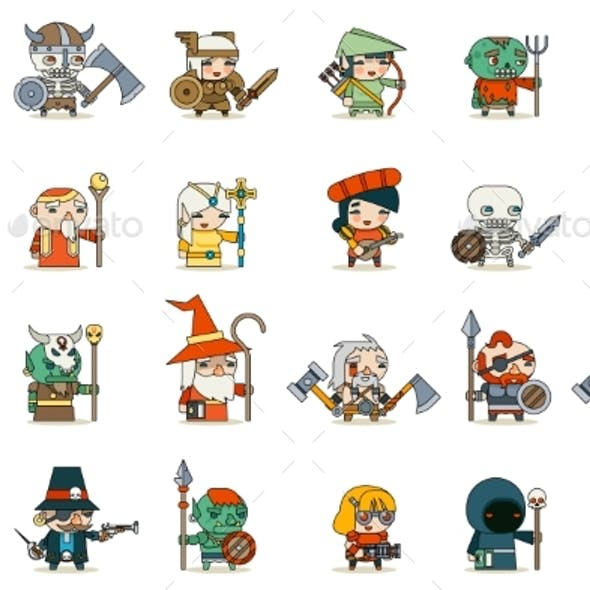 Lineart Fantasy RPG Game Characters
