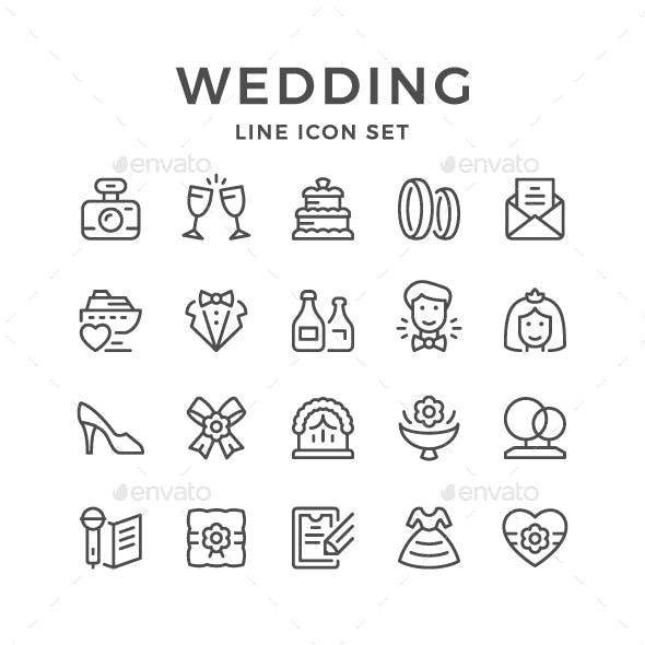 Set Line Icons of Wedding