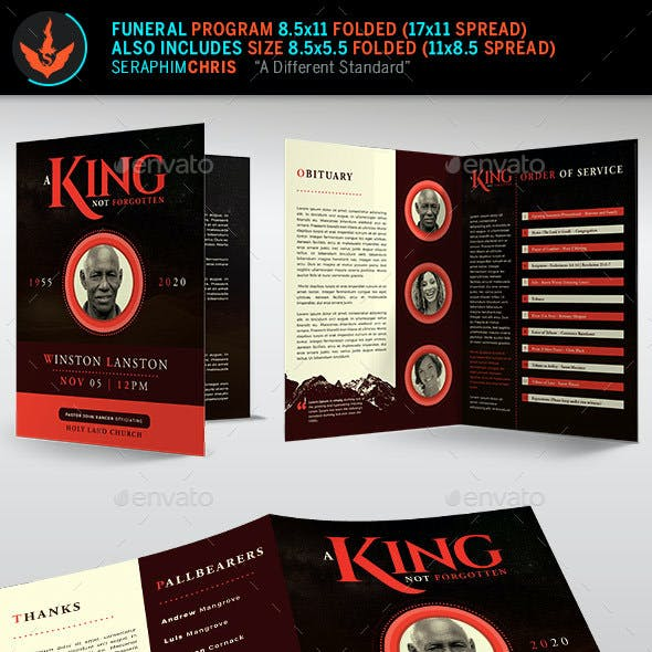 King Funeral Program Template