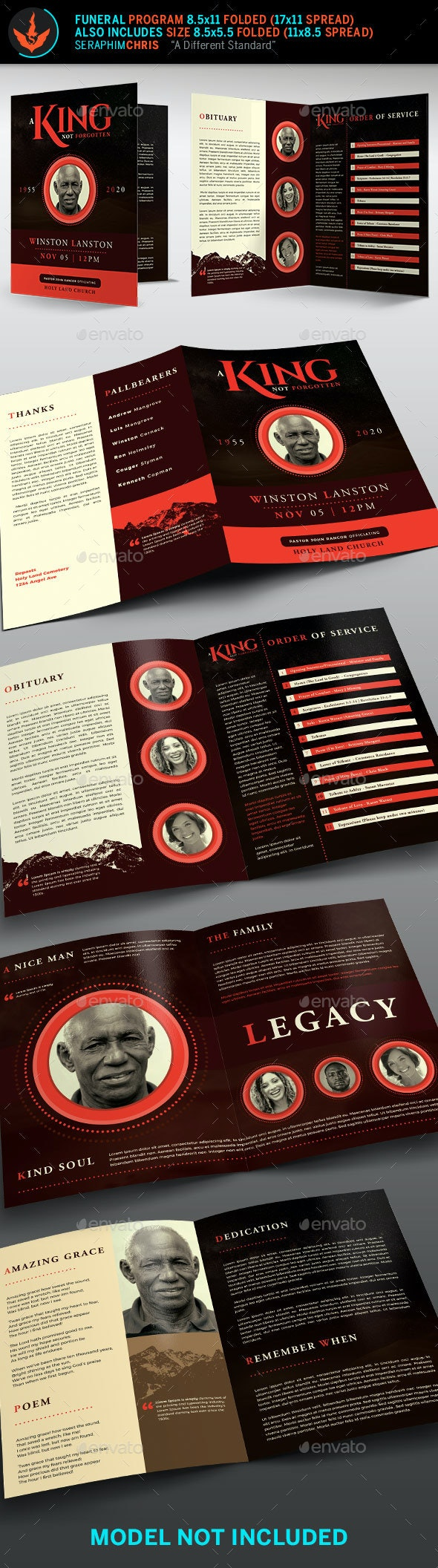 King Funeral Program Template - Informational Brochures