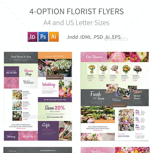Florist Flyers 3 – 4 Options