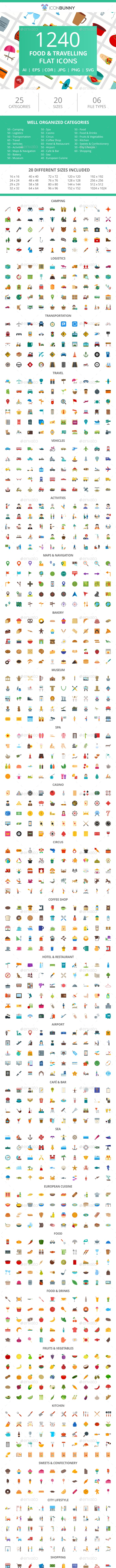 1240 Food & Travelling Flat Icons - Icons