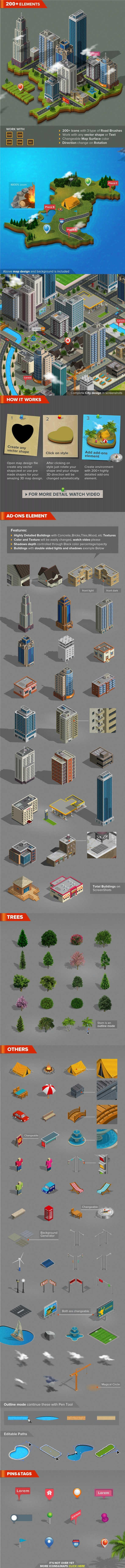 3D City and Map Generator - Styles Illustrator