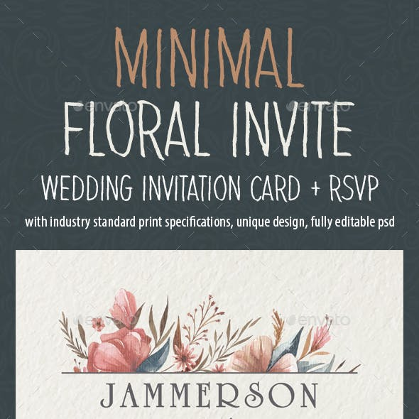 Minimal Floral Wedding Invite 02