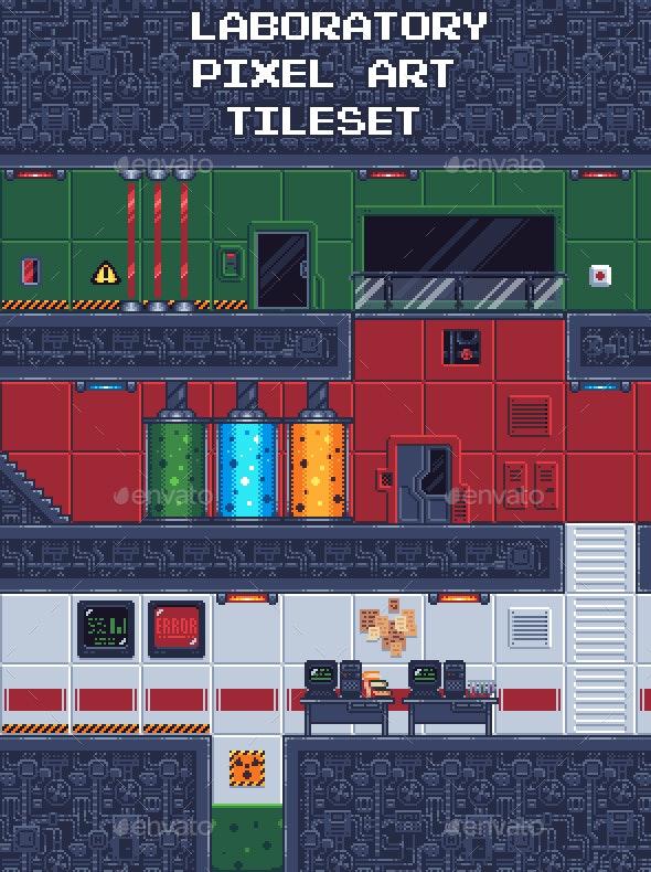 Laboratory Pixel Art Tileset - Tilesets Game Assets