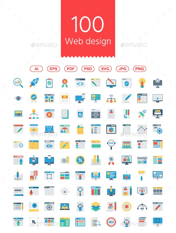 100 Web design & Programming Flat icons