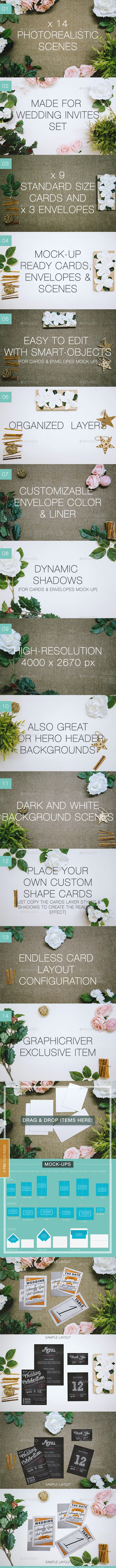 Photorealistic Cards and Invites Mock-Up Maker v2 - Hero Images Graphics