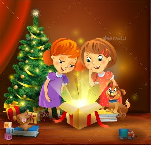 Christmas Miracle - Girls Opening a Magic Gift - Christmas Seasons/Holidays