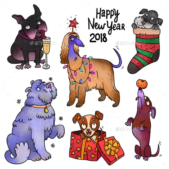 New Year Dogs PSD
