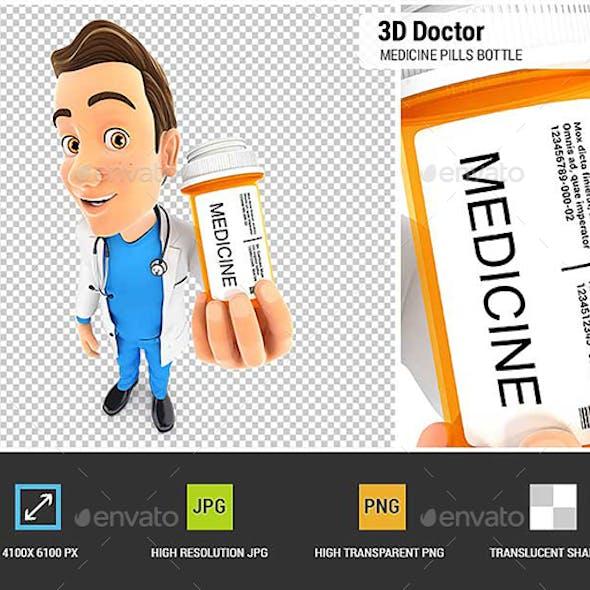 3D Doctor Holding Medicine Pills Bottle