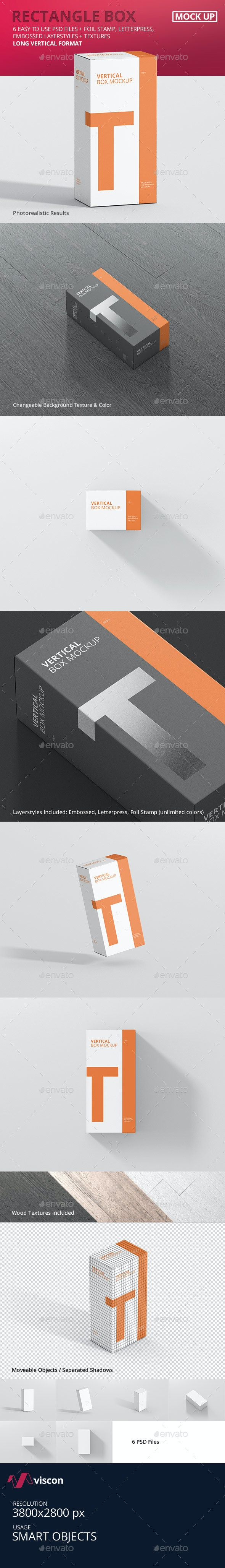 Box Mockup - Long Vertical Rectangle - Miscellaneous Packaging