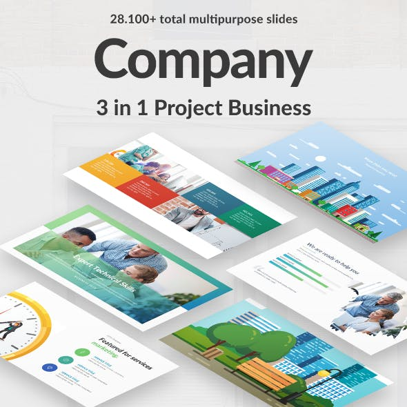 3 in 1 Company Project Bundle Google Slide Template