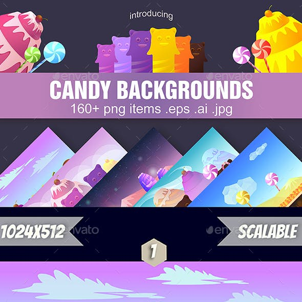 5 Cartoon Candy Game Backgrounds
