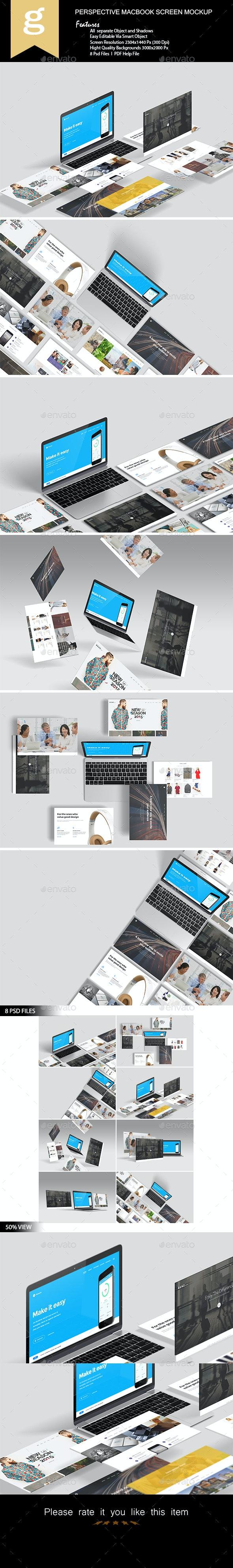 Perspective Macbook Screen Mock-Up - Laptop Displays