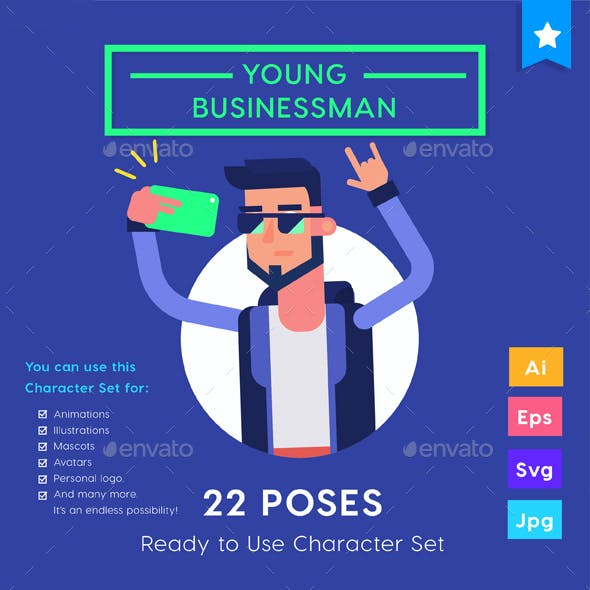 Character set - Young Businessman Millennials Startup with Smartphone