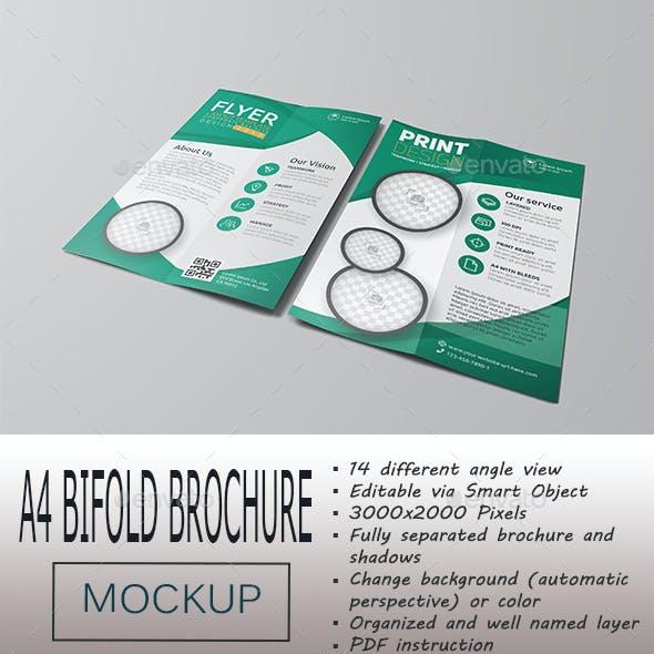A4 Bifold Portrait Brochure Mockup