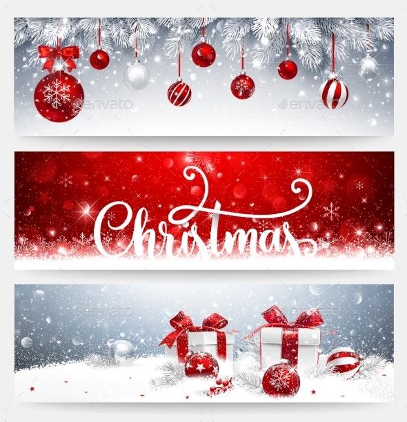 Christmas Banners.Christmas Banners Set With Balls And Gifts