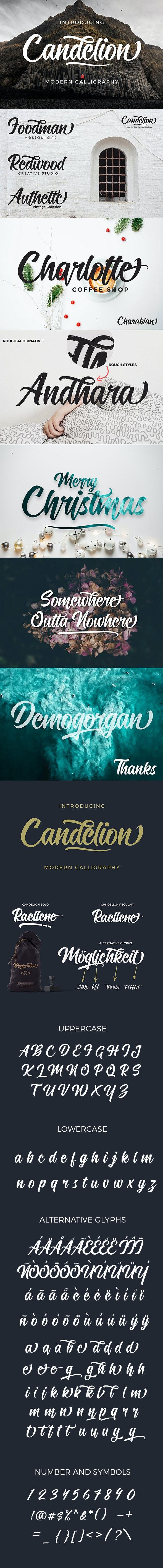 Candelion Script Font - Script Fonts