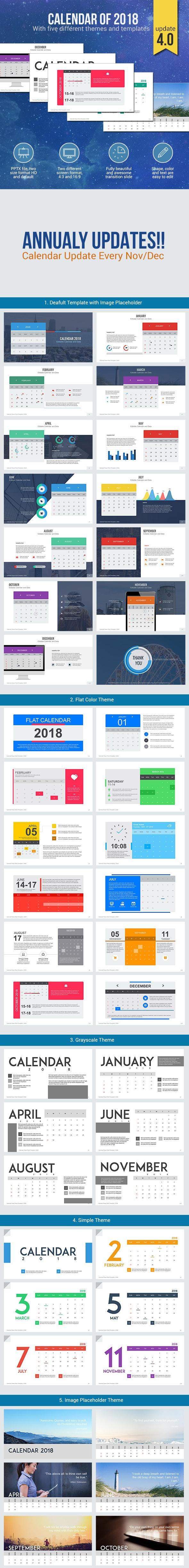 Calendar 2018 - Presentation Template - PowerPoint Templates Presentation Templates
