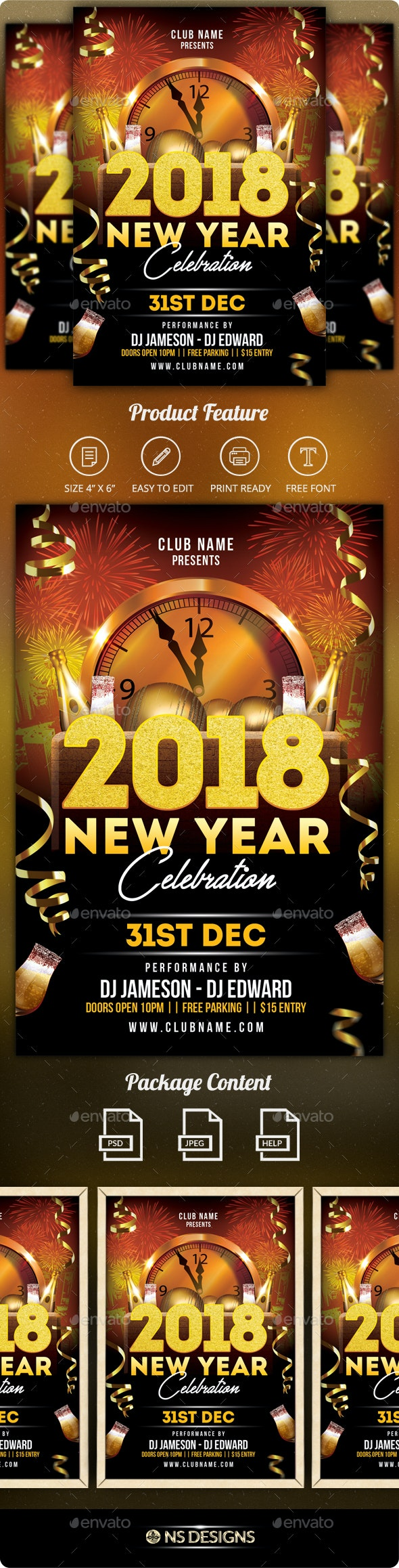 New Year Flyer - Clubs & Parties Events