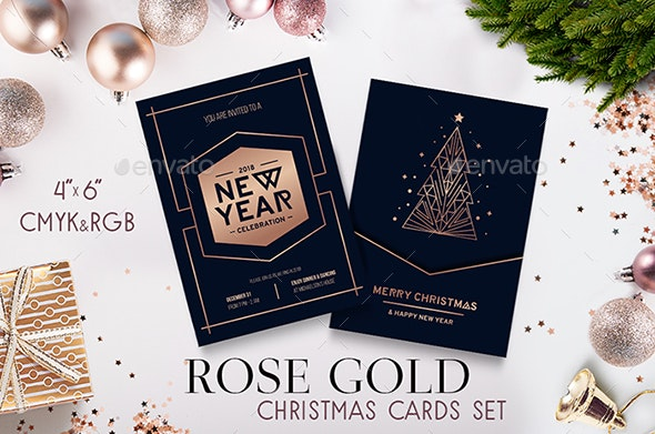 Rose Gold Merry Christmas Cards Set - Holiday Greeting Cards