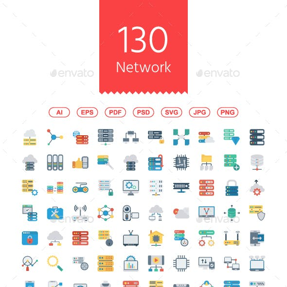 130 Network and Technology Flat icon