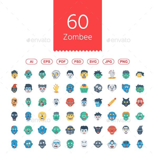 60 Halloween Zombee Flat Icons