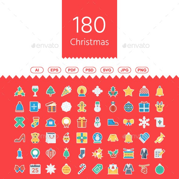 180 Christmas Sticker Icons