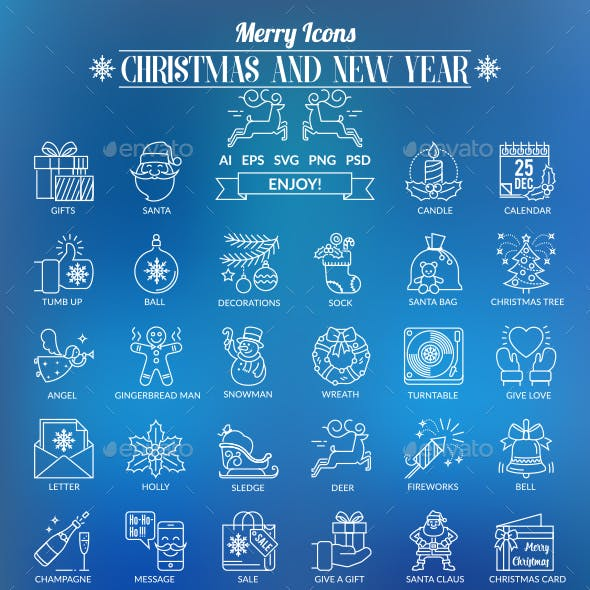 Christmas and New Year Outline Icons