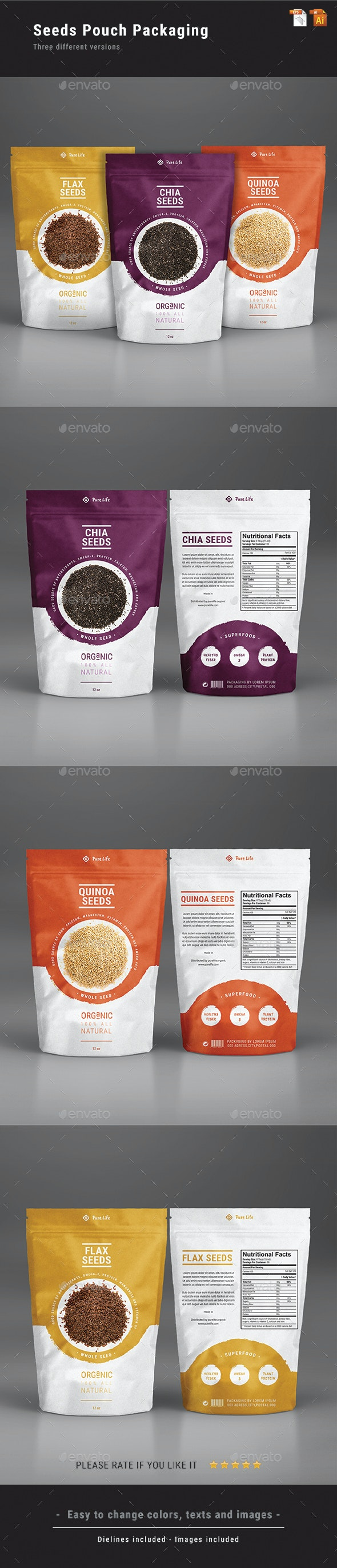 Seeds Pouch Packaging - Packaging Print Templates