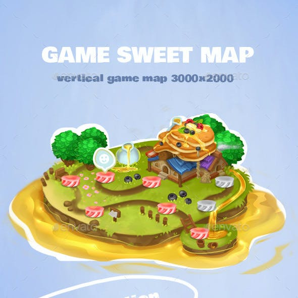 Game Level Isometric Sweet Map