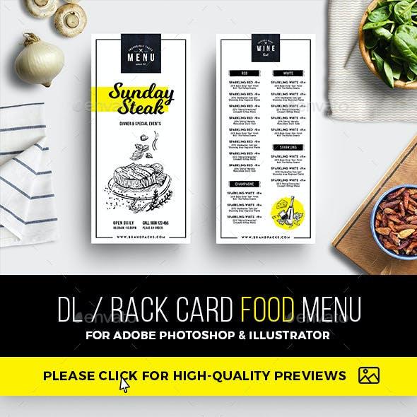 DL Rack Card Food Menu