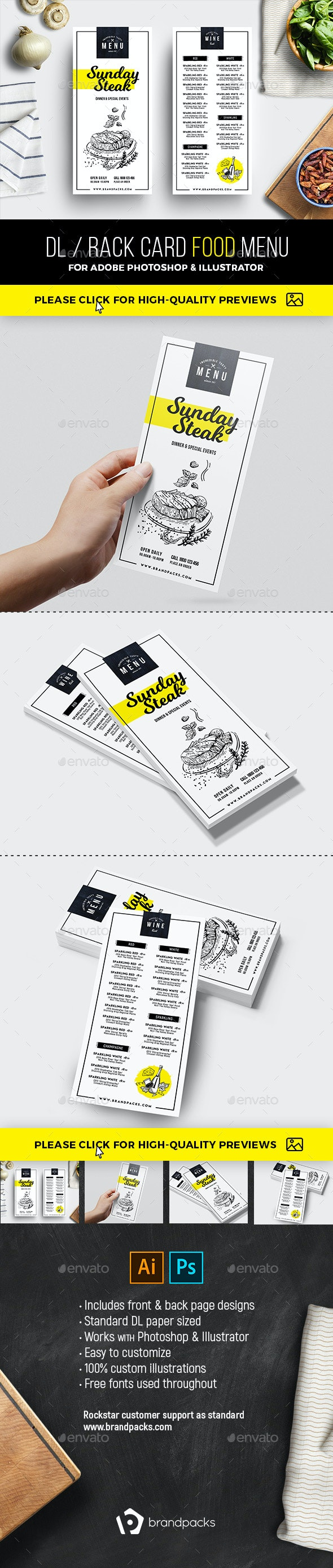 DL Rack Card Food Menu - Food Menus Print Templates