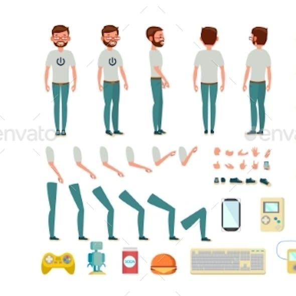 Geek Man Vector. Animated Character Creation Set
