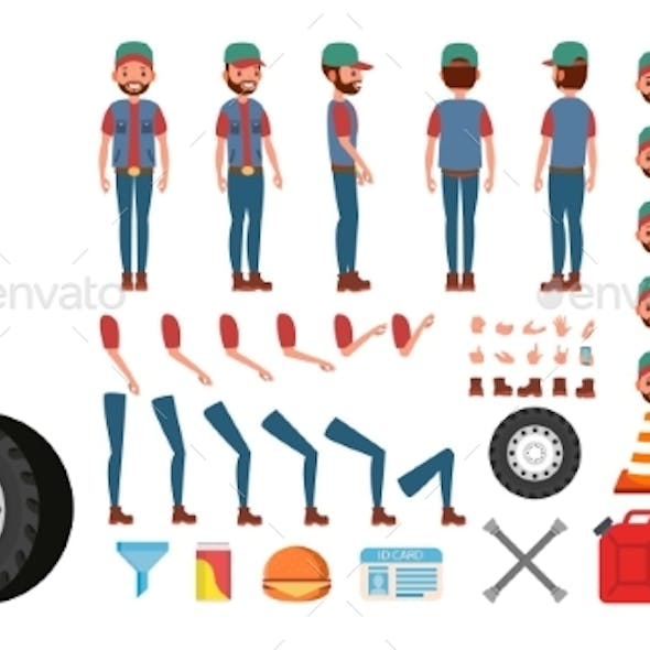 Truck Driver Vector. Animated Trucker Character