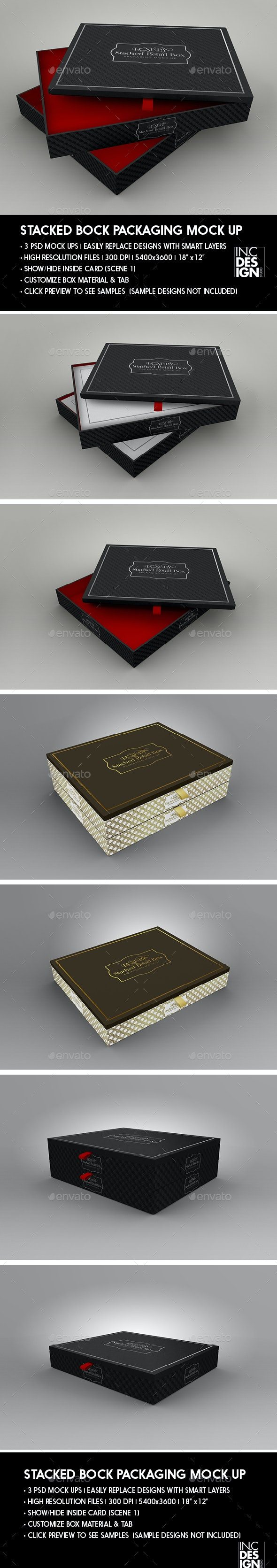 Stacked 3pc Box Mock Up - Packaging Product Mock-Ups