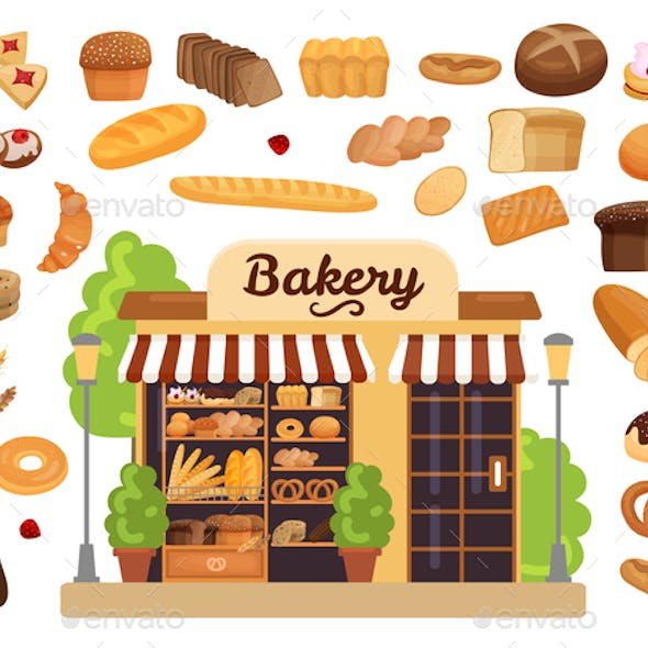 Bakery Products Flat Set