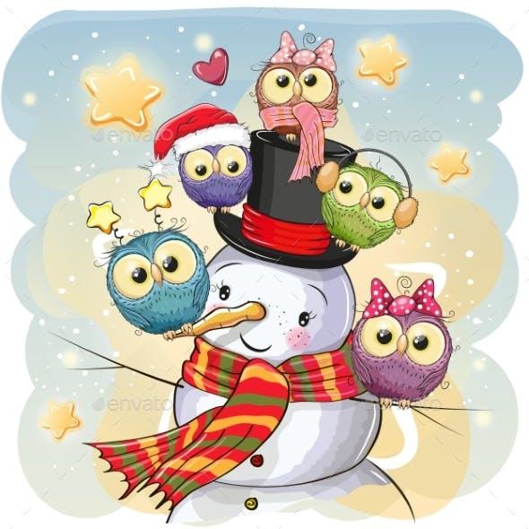 Snowman and Five Cartoon Owls