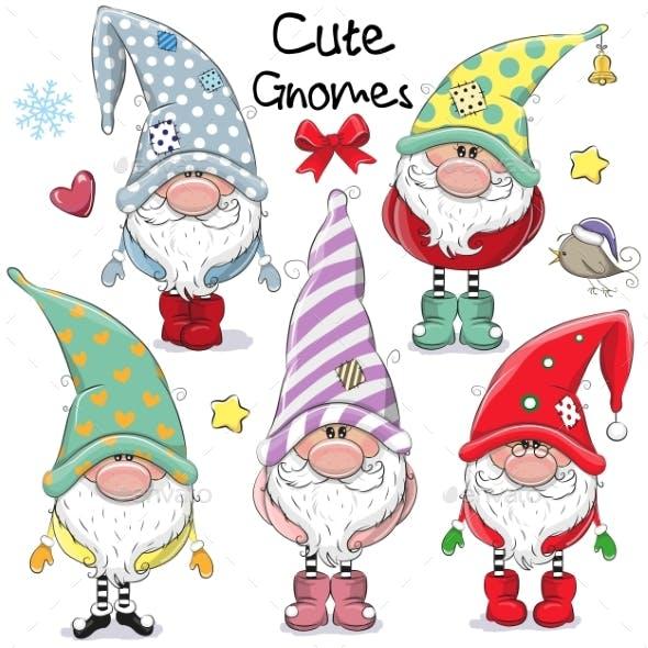 Set of Cartoon Gnomes