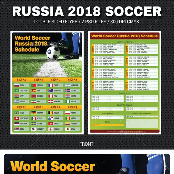 World Soccer Cup Russia 2018 Schedule Flyer