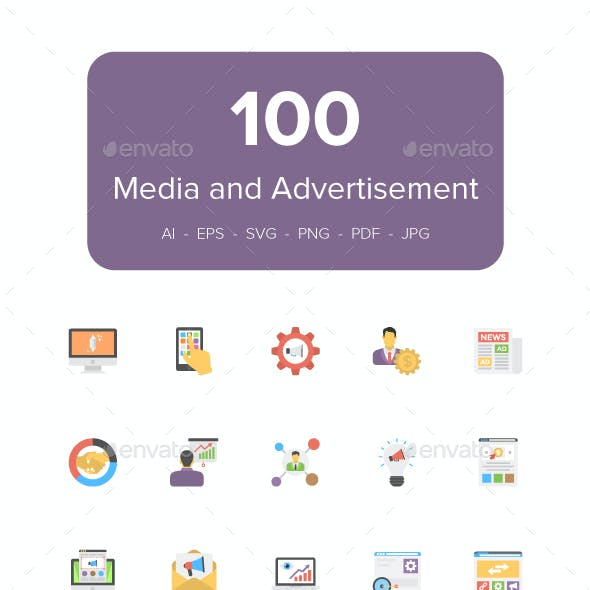 100 Flat Media and Advertising Icons