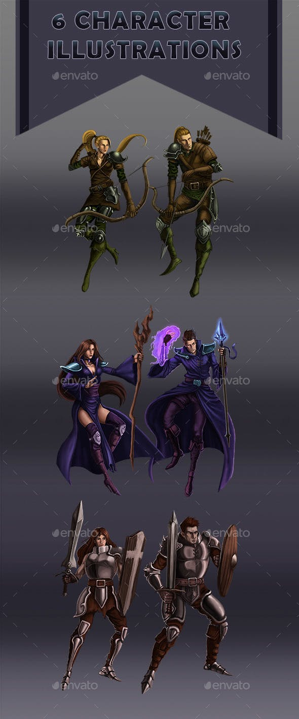 6 Character Illustrations - Mage Warrior and Archer