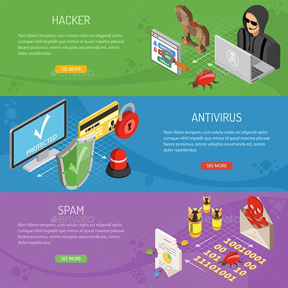 Internet Security Isometric Horizontal Banners