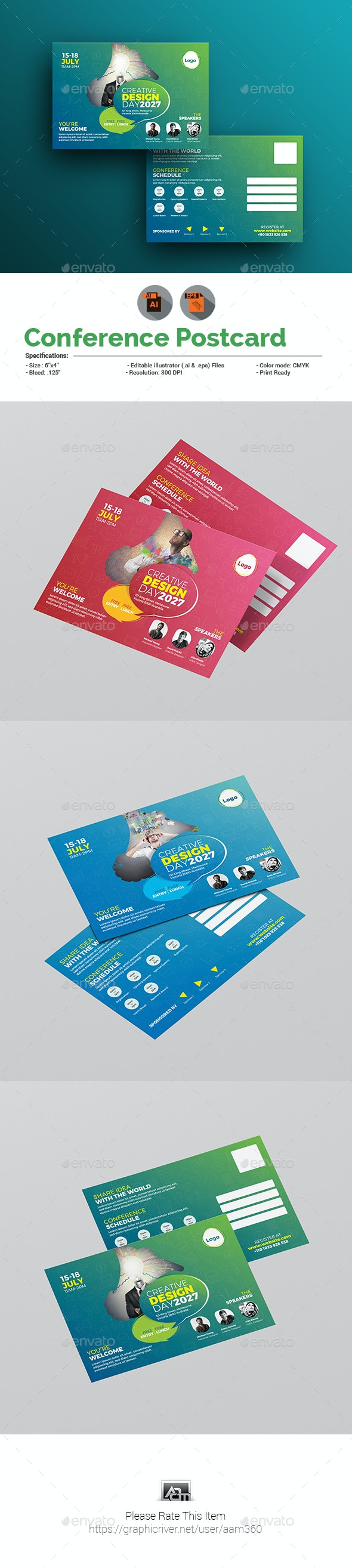 Conference / Event Postcard - Cards & Invites Print Templates