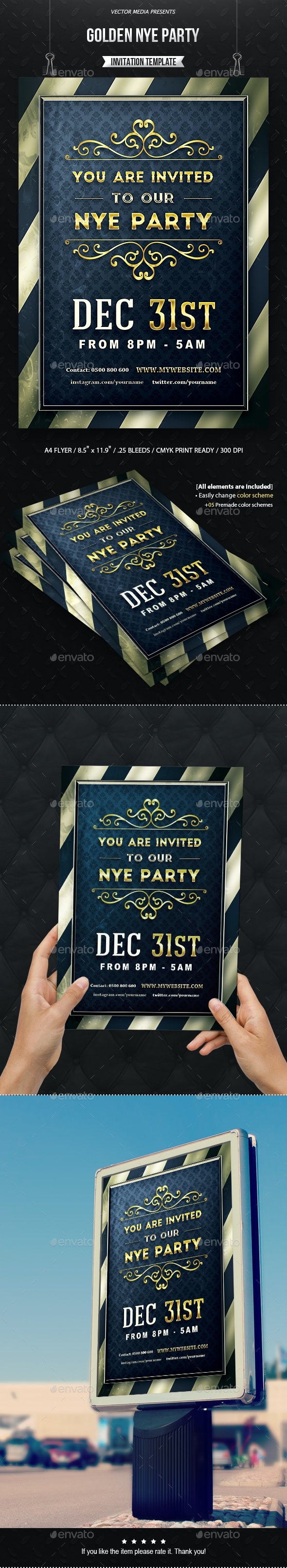 Golden NYE Party - Invitation - Invitations Cards & Invites