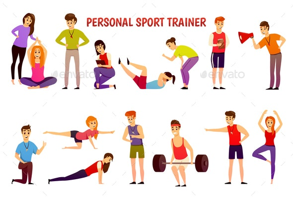 Personal Sport Trainer Orthogonal Icons - People Characters