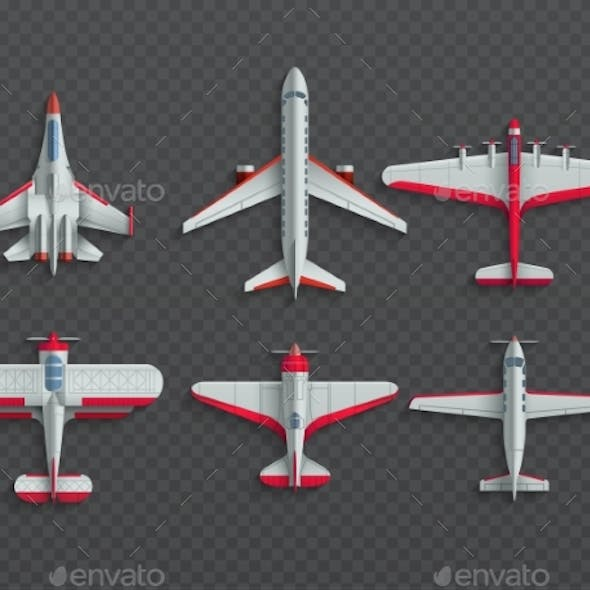 Airplanes and Military Aircraft Top View