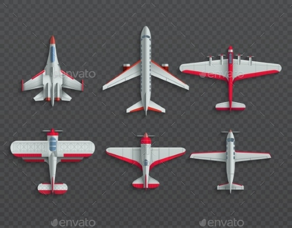 Airplanes and Military Aircraft Top View - Man-made Objects Objects